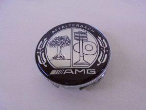 4X MERCEDES NAAFDOP AMG ZWART CHROOM -8122