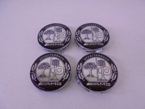 4X MERCEDES NAAFDOP AMG ZWART CHROOM -0