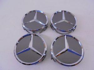 4X MERCEDES NAAFDOP ANTRACIET CHROOM STER-0